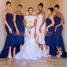$enCountryForm.capitalKeyWord Australia - High Low Mermaid Bridesmaid Dresses Straps African Juniors Maid Of Honor Dress Wedding Guest Wear Evening Formal Plus Size Party Gowns Prom
