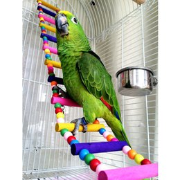 $enCountryForm.capitalKeyWord Australia - cage parakeet Pet Bird Parrot Wood Colorful Climbing Ladder toy Cableway Hamster Toys Rope Parrot Bites Harness Cage Parakeet Budgie Home