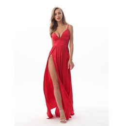 $enCountryForm.capitalKeyWord UK - 2019 Sexy Deep V Neck Backless Maxi Dress 2 High Splits Dress Red Satin Floor Length Open Back Night Club Evening Party Dress Y190426