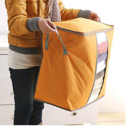 Space Bedding Australia - Quilt Clothes Storage Bags Thick non-woven Portable Wardrobe Organizer Save Space Folding Anti-dust Pouch Box For Pillow Blanket Bedding