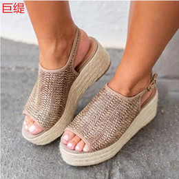 $enCountryForm.capitalKeyWord Australia - Spot wish quick sale Amazon new foreign trade large slope heel light sole hemp rope knitted breathable fish mouth sandals woman
