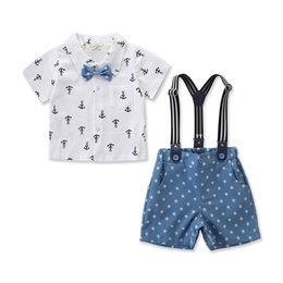 $enCountryForm.capitalKeyWord UK - 2019 Summer baby boys cotton bow printed shirts +bib short suit kids casual outwear party gift fashion gentleman clothes set