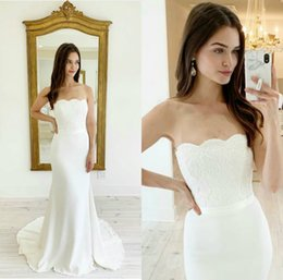 cheap strapless trumpet wedding dresses UK - 2020 Cheap Mermaid Wedding Dresses Strapless Lace Satin Vestidos De Novia Customized Plus Size Wedding Dress Elegant