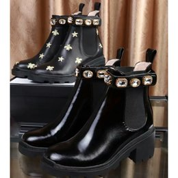 Genuine leather cowboy belts online shopping - 2019 high quality Woman Leather shoes Lace up Ribbon belt buckle ankle boots factory direct female rough heel round head autumn Martin Boots