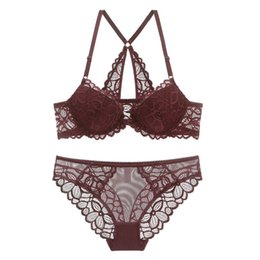 3497c456e Sexy Plunge Backless Front Closure Bra Set Lace Embroidery Push-Up Bra and  Panties Set Underwear Women Lingerie New 2019 Undies