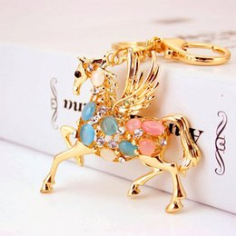 Wholesale fly cars resale online - Women Car Key Chains New Bag Charm Key Ring Colorful Rhinestone Paved Animal Flying Horse Keychain Lobster Clasp Handbag Key Holder