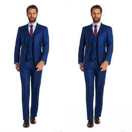 cheap blue tuxedos UK - Cheap Three piece Tuxedos wedding male suit blue tie suit style mens custom Made suit Free shipping Mens Suits Groom