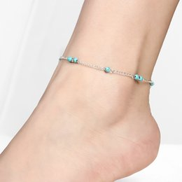 $enCountryForm.capitalKeyWord NZ - anklets accessories Fashion Gold Silver Plated Anklets Jewelry Summer Hot Sell Vintage Blue Beads Alloy Chain Anklets Drop Shipping