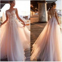 Blush pink elegant dresses online shopping - Elegant Blush Pink Lace Appliques A Line Wedding Dresses Sheer Scoop Neck Tulle Covered Button Tulle Long Wedding Gowns Customize