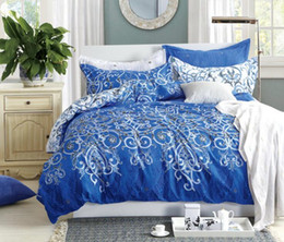 white blue bedding NZ - 4 Pcs Bedding Set Chinese Traditional Style Blue and White Porcelain Printed Duvet Cover Set Full Size