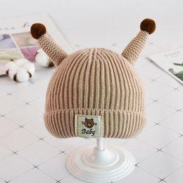 936d2cc2f58 Autumn and winter baby Warm hat Cartoon Bear thicken Woolen cap Red Yellow  Black Pink Gray Beige Ox horn Sleeve cap 2pcs lot