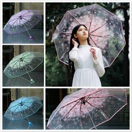 Cherry Blossom Fabric Australia - 1pc Three Fold Women Transparent Clear Cherry Blossom Mushroom Apollo Sakura Folding Sunshade Rain Umbrella 2018 Q190603