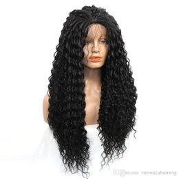 $enCountryForm.capitalKeyWord UK - Cheap Black Color Long Kinky Curly Heavy Density Heat Resistant Fiber Africa Women Glueless Synthetic Lace Front WigS with Baby Hair