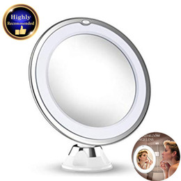 lighted makeup mirror with magnification NZ - 10X Magnifying Makeup Vanity Mirror With Lights LED Portable Hand Cosmetic Magnification Light up for Tabletop Bathroom Shower bea168