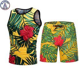 $enCountryForm.capitalKeyWord Australia - Novelty Tropical Plant 3d Tank Tops Shorts Sets Summer Style Gym Sleeveless Vest Shorts Two Pieces Sets Beach Party Men Clothing