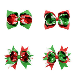 Tail bow online shopping - Baby Girls Bow Barrettes Design Bow Printed Swallow Tail Christmas Hair Bows Kids Headwear Baby Headbands Girls Hair Clips