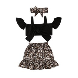 wholesale leopard skirts Australia - Ins Summer leopard baby girls suits fashion girls outfits tank tops+skirts+headband 3pcs set 1-5Y kids designer clothes girls clothing B1399