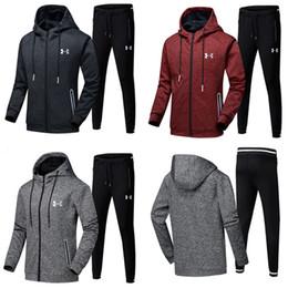 Boys winter coat pants online shopping - L XL Brand U A Men Tracksuit Under Zipper Hoodie Jacket Pants Set Hooded Coat Sweater Trousers Outfit Armor Autumn Sportswear Suit
