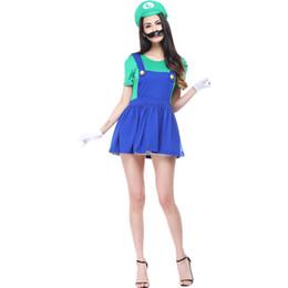 Discount mario costumes women - Super Mario Bros Female Cosplay Women Costume Mario Dress Cosplay Halloween Christmas Party Role Play(Green)