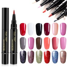 Discount sea pen - Convenient Nail Gel Varnish Pencil One Step Gel Nail Pen No Need Top Base Primer 3 In 1 Lacquer Glitter Polish