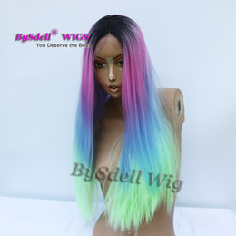 $enCountryForm.capitalKeyWord UK - new arrival synthetic black dark roots ombre mermaid unicorn pink blue green color hair wig long straight hair lace front wigs for sale