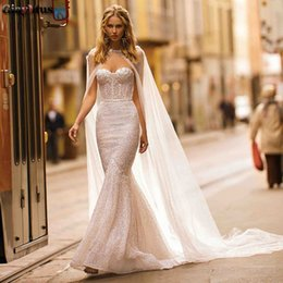 sweetheart wrap Australia - Mermaid Wedding Dresses Sweetheart Twinkly Bridal Gown Sequins Beaded Wedding Dresses with Wrap Long Backless Church Wedding Gown
