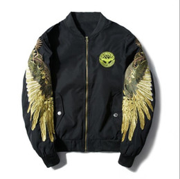 $enCountryForm.capitalKeyWord Australia - Baseball clothing men and women couple thin wings embroidery jacket bomber jacket men loose bf wind short red