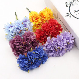 Flowers For Crafting Wholesale Australia - 12pcs Daisy Carnation Artificial Flower For Wedding Decoration Garland Cloth Apparel Sewing Needlework Art DIY Craft Supplies