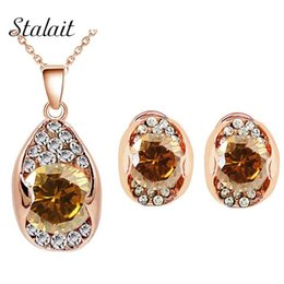 $enCountryForm.capitalKeyWord UK - brand high quality Bridal Rose Gold Color Zircon Rhinestones white champagne Pendant Necklace Earrings jewelry sets