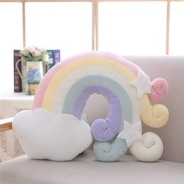 Rabbits Decor Australia - 20170617 Cloud Plush Pillow Soft Gentle Colour Rainbow Stuffed Soft Star Throw Pillow Baby Kids Sofa Home Decor Girls Moon Cushion meteor