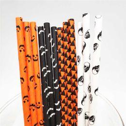 serie de Halloween del truco o 2 pisar! 2000 pajitas de papel Piezas ecológico biodegradable compostable para bebidas decoración del partido de Halloween en venta