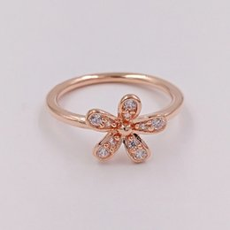 European Gold Ring Australia - Rose Gold Plated & 925 Sterling Silver Ring Dazzling Daisy European Pandora Style Jewelry Charm Ring Gift -P