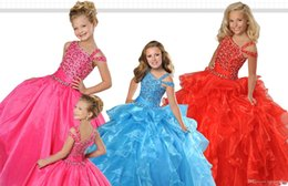 unique girls party dresses NZ - Unique Straps Backless Sequins Girls Pageant Dresses Crystals Beaded Sash Ruched Tiered Ball Gown Flower Girls Gowns Long Formal Party Wear