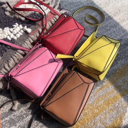 popular luxury handbags Australia - High Quality Genuine Leather Luxury Handbags Women Bags Designer Multi-color Geometric Shoulder Totes Crossbody Bags Ins Popular