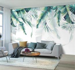 $enCountryForm.capitalKeyWord NZ - 3d Wall paper Nordic hand painted banana leaves decorative living room bedroom HD print beautiful wallpaper