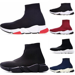 $enCountryForm.capitalKeyWord Australia - Designer Shoes Speed trainer white Red bule Triple Black white Flat Fashion Socks shoes Casual sports Sneaker
