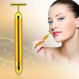 Anti wrinkle mAssAger online shopping - 24k Golden Energy Beauty Bar Pulse Face Massager T shape vibration Massager lastest Beauty Tool anti Wrinkles G1