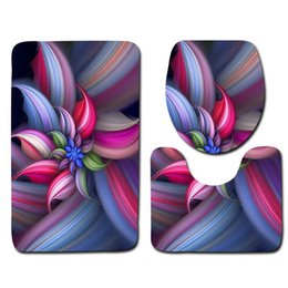 $enCountryForm.capitalKeyWord NZ - Flower Printed 3pcs Mats For Bathroom And Toilet Washable Pedestal Rug Lid Toilet Cover Carpet Absorbent Bath Rug Set Toilet Mat