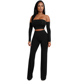 92da0f3a18a9 2019 Wide Leg Jumpsuit Elegant Rompers Black Sexy Two Pieces Off Shoulder  Backless Bandage Jumpsuits Long Sleeve Women Overalls