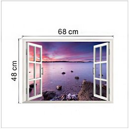 ocean window stickers NZ - New ocean view 3D fake Windows living room background wall stickers wholesale waterproof can be removed