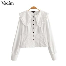 684c0bde6 Vadim women cute ruffled white blouse peter pan collar long sleeve shirts  female cute stylish casual top blusas LA915
