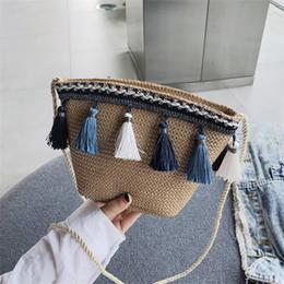 Cross Bags Australia - Hand Woven Beach Bag Straw Totes Bag Large Bucket Summer Bags Women Natural Basket Handbag Tassel Shoulder Cross body bags High Quality INS