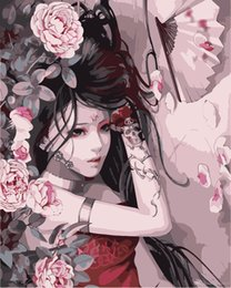 Japanese Girl Figure Australia - 16x20 inches DIY Paint On Canvas By Numbers Kits Japanese Glamorous Girl With Fan Peony Flowers Art Acrylic Oil Painting Frame For Adul