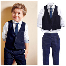 Discount toddler formal outfit - Pudcoco New Brand Child Toddler Kids Boys Outfits Tops Waistcoat Tie Pants Formal Suit Clothes 3pcs Set