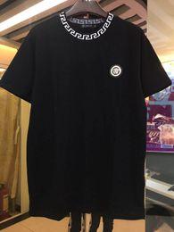 18ss de Luxo Europa Paris Bordado Contraste patchwork Tshirt Moda Mens Designer de T Camisa Casual Homens Roupas de Algodão Tee venda por atacado