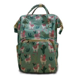Wholesale Supplier Llama Diaper Backpack Canvas Diaper Mummy Bag Baby Care Packs With Cute Sheep Elements DOM