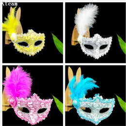Discount dancing mask for girls - 10pc lot Women Sexy Venetian Lace Feather Flower Eye Masks Halloween Masquerade Mask Girls Half Face Party Dance Mask