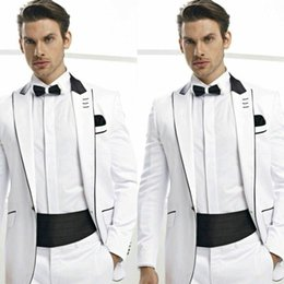 images blazers for white wedding Canada - Custom Made White Men Suits for Wedding Attire for Man Outfit Italian Tailored Made Groomsmen Blazer 2Piece Costume Homme Terno Masculino