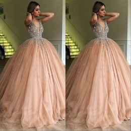 Discount glamorous quinceanera dresses - V Neck Long Prom Party Dresses 2019 Glamorous Bead Evening Gowns Pink Tulle Sweep Train Quinceanera Dress