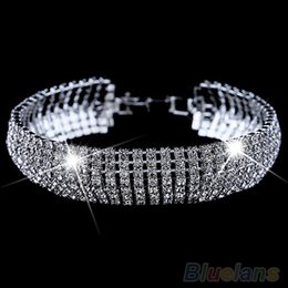 golden wedding bangles Australia - Women's Roman Golden Silver Rhinestone Wedding Party Mesh Wrap Cuff Bangle Bracelet 1SWH